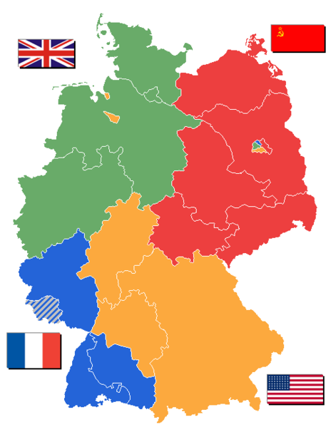 Map of former divided Germany