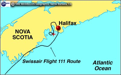 swissair.111.route .map  Nova Scotia: Peggy's Cove & the Tragedy of Swiss Air Flight 111