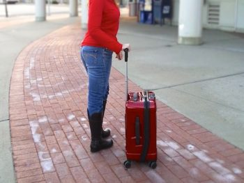 Lisa and her suitcase