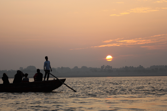 Sunrise on the Ganges in north west india