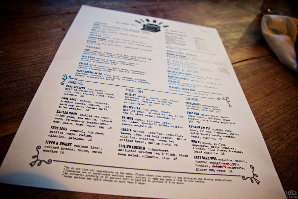 Bluebeard Menu