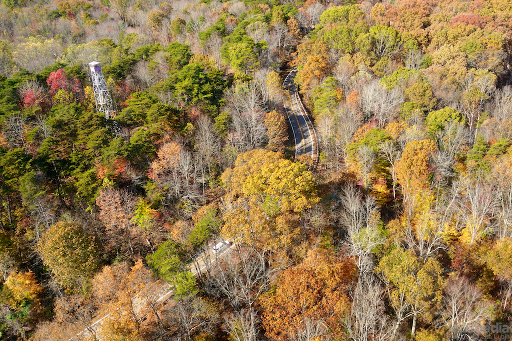 Hocking Hills aerial view autumn