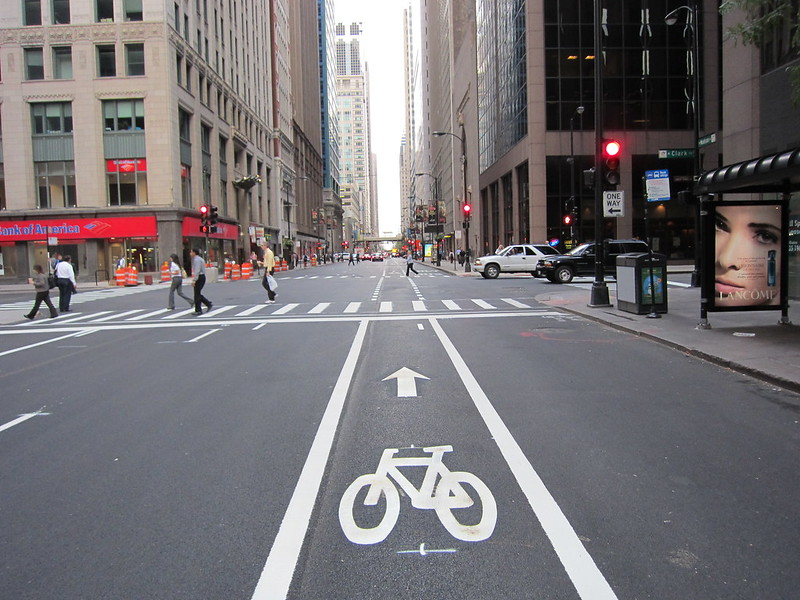Bike lane downtown Chicago